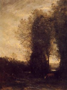 Jean Baptiste Camille Corot - A Cow and its Keeper