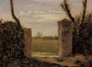 Jean Baptiste Camille Corot - Boid Guillaumi near Rouen A Gate Flanked by Two Posts