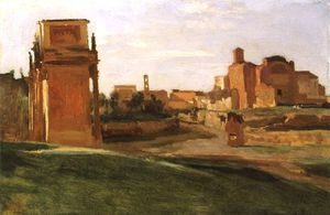 Jean Baptiste Camille Corot - The Arch of Constantine and the Forum, Rome
