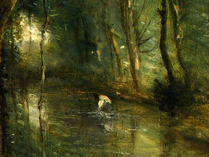 Jean Baptiste Camille Corot - the eel gatherers (detail - )