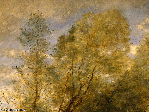 The Forest of Coubron (detail 1) -, 1872 by Jean Baptiste Camille Corot (1796-1875, France) | Museum Quality Reproductions | WahooArt.com