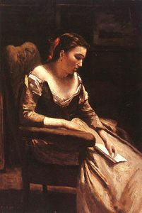 Jean Baptiste Camille Corot - The Letter - oil on wood -