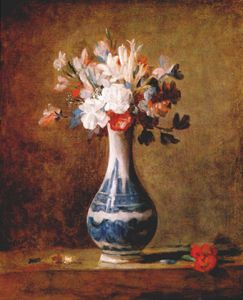 Jean-Baptiste Simeon Chardin - flowers in blue and white vase