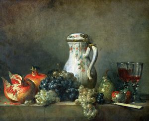Jean-Baptiste Simeon Chardin - Still Life with Grapes and Pomegranates