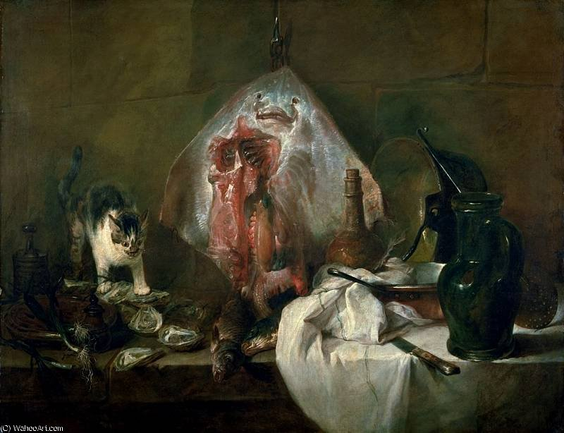 The ray - Oil on canvas -, 1728 by Jean-Baptiste Simeon Chardin (1699-1779, France) | Paintings Reproductions Jean-Baptiste Simeon Chardin | WahooArt.com