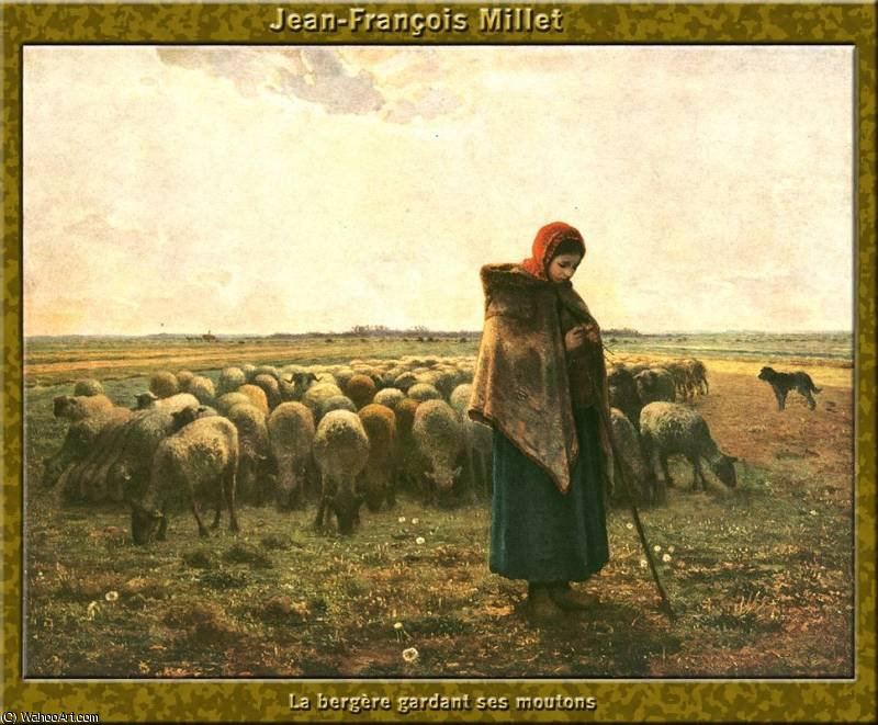 berg_re gardant ses moutons by Jean-François Millet (1814-1875, France) | Painting Copy | WahooArt.com