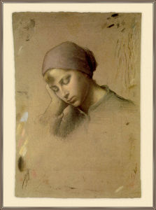 Jean-François Millet - head of a young girl