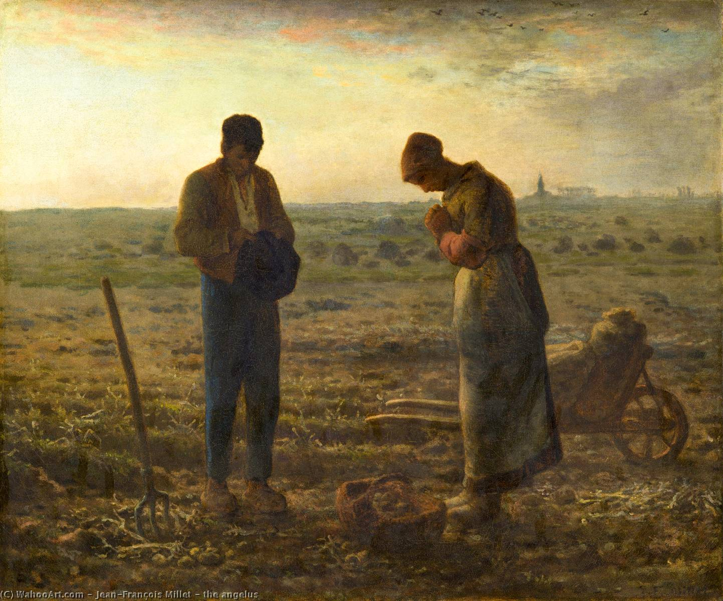 the angelus by Jean-François Millet (1814-1875, France) | Famous Paintings Reproductions | WahooArt.com