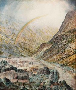 John Atkinson Grimshaw - a mountain road flood time honister