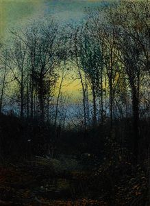 John Atkinson Grimshaw - Wooded valley probably Bolton Woods Lovers in a woodland clearing a pair