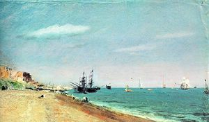 John Constable - brighton beach with colliers - oil on paper -