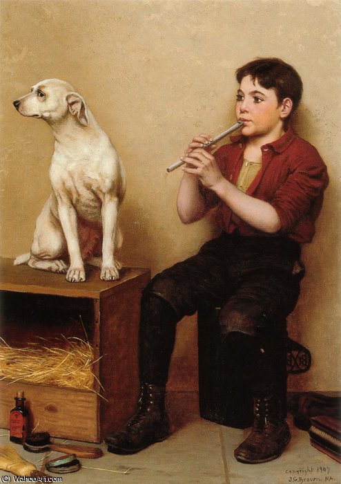 music hath no charms by John George Brown (1831-1913, United Kingdom)