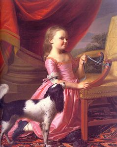 John Singleton Copley - young lady with a bird and dog - oil on canvas -