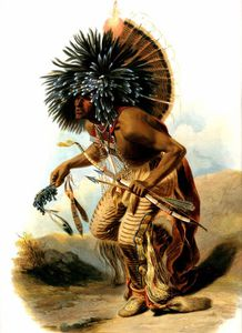 Karl Bodmer - Pehriska-Ruhpa, in costume of the Dog-Dance