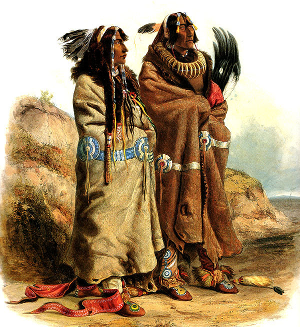 Sih-Chida & Mahchsi-Karehde, Mandan Indians by Karl Bodmer (1809-1893, Switzerland) | Museum Quality Reproductions | WahooArt.com