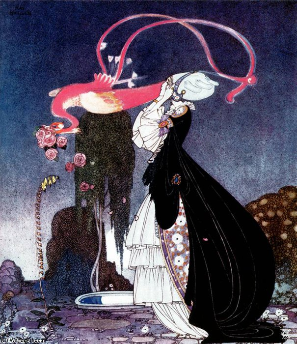 In Powder and Crinoline by Kay Rasmus Nielsen (1886-1957, Denmark) | Famous Paintings Reproductions | WahooArt.com