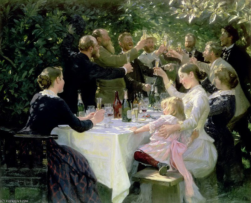 hip hip hurrah by Peder Severin Kroyer (1851-1909, Norway) | Museum Quality Reproductions | WahooArt.com