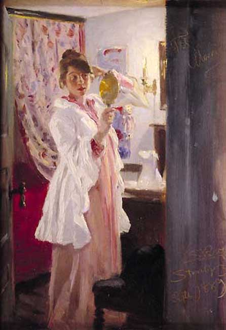 Marie en el espejo, 1889 by Peder Severin Kroyer (1851-1909, Norway)