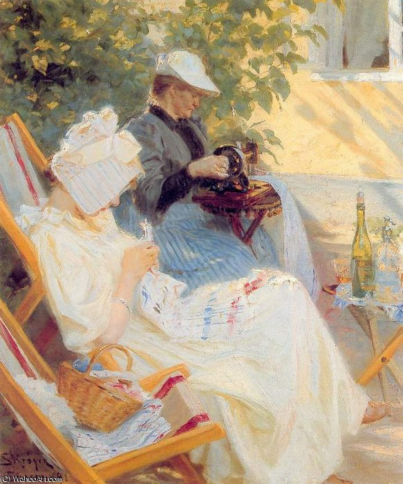 Marie y su madre en el jardin, 1891 by Peder Severin Kroyer (1851-1909, Norway) | Oil Painting | WahooArt.com