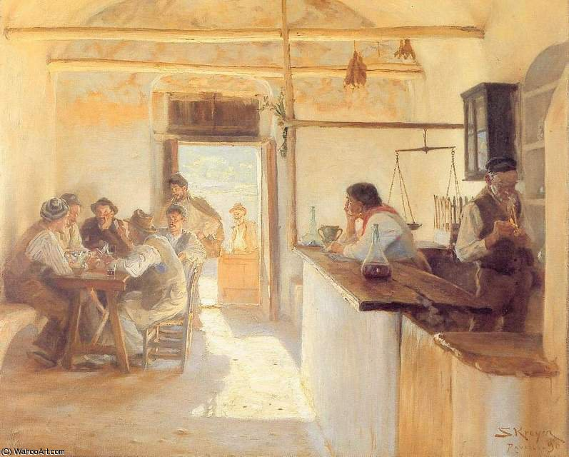 Taberna en Ravello, 1890 by Peder Severin Kroyer (1851-1909, Norway) | Famous Paintings Reproductions | WahooArt.com