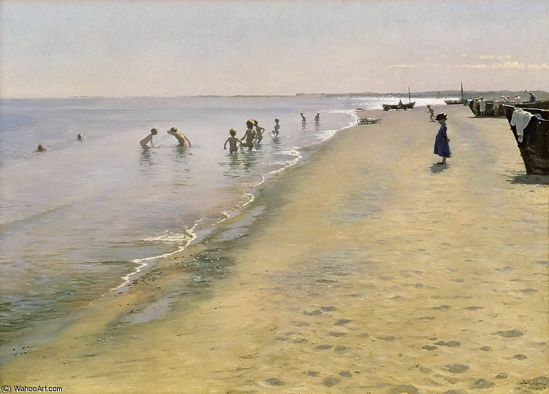 Summer Day at the South Beach of Skagen by Peder Severin Kroyer (1851-1909, Norway) | Famous Paintings Reproductions | WahooArt.com