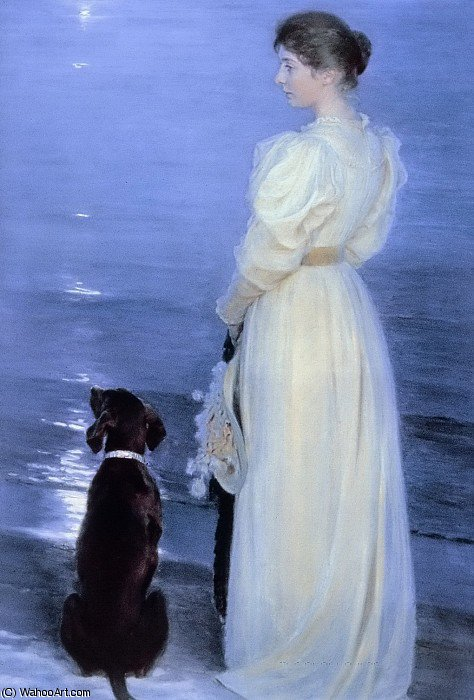 Summer Evening at Skagen, the Artist`s Wife with a Dog on the Beach by Peder Severin Kroyer (1851-1909, Norway) | Museum Quality Reproductions | WahooArt.com