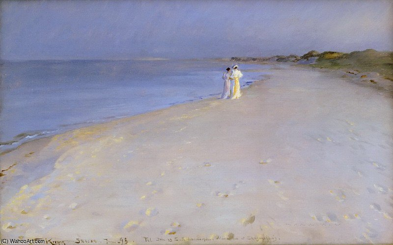 Summer evening at the South Beach, Skagen by Peder Severin Kroyer (1851-1909, Norway) | Art Reproduction | WahooArt.com