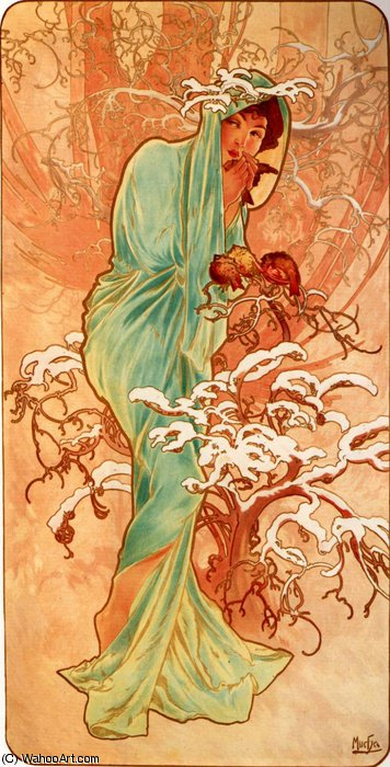 untitled (1383) by Alfons Maria Mucha (1860-1939, Czech Republic) | Painting Copy | WahooArt.com