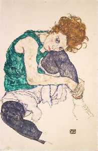 Egon Schiele - Sitting Woman With Bent Knee