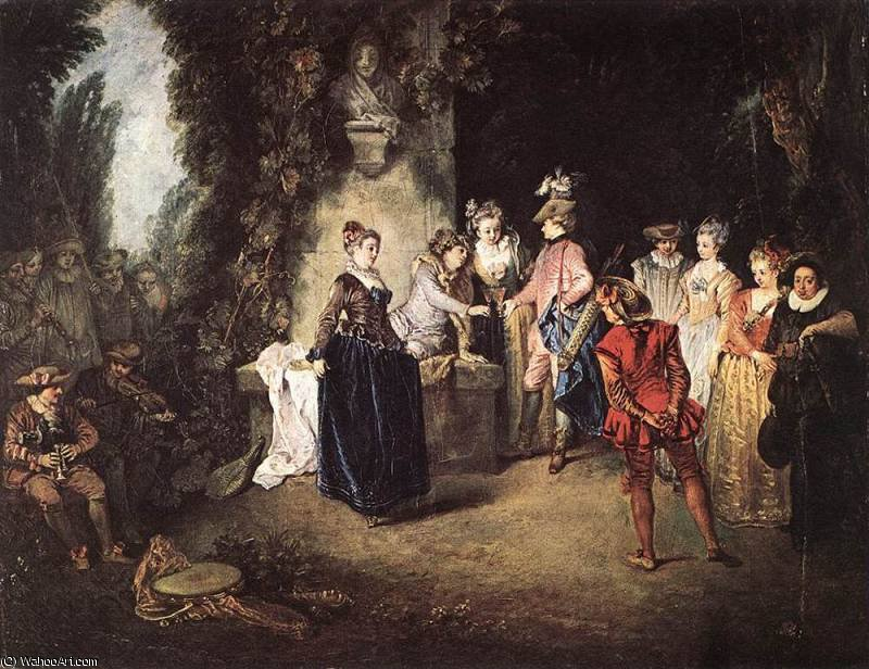 untitled (5896) by Jean Antoine Watteau (1684-1721, France) | Famous Paintings Reproductions | WahooArt.com
