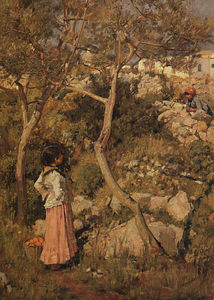 John William Waterhouse - Two Little Italian Girls by a Village