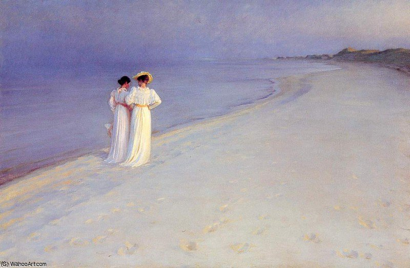 Summer Evening on the Skagen Southern Beach with Anna Ancher and Marie Kroyer by Peder Severin Kroyer (1851-1909, Norway)