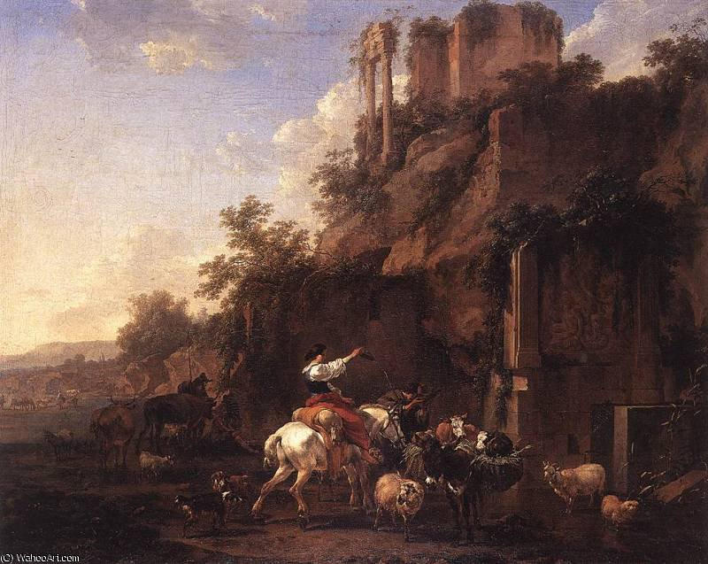 untitled (3445) by Nicolaes Berchem (1620-1683, Netherlands) | Painting Copy | WahooArt.com