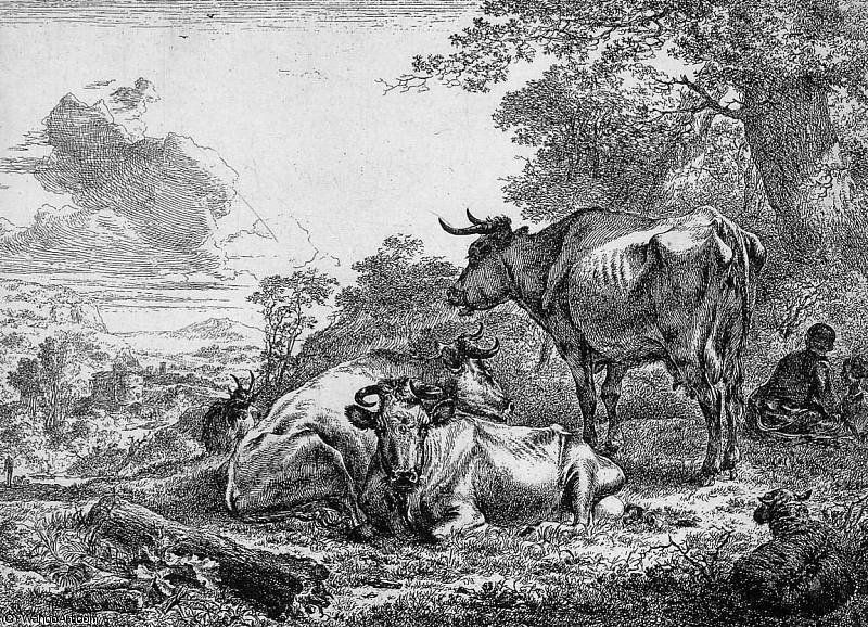 Three resting cows Sun by Nicolaes Berchem (1620-1683, Netherlands) | Oil Painting | WahooArt.com