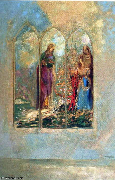 untitled (4043) by Odilon Redon (1840-1916, France) | Famous Paintings Reproductions | WahooArt.com