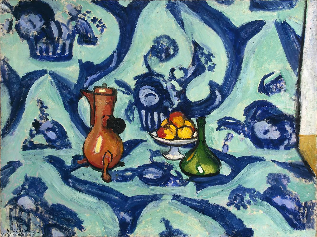 Nature morte camaîeu bleu Huile sur Toile St Petersbourg, museum of the Hermitage by Henri Matisse (1869-1954, France)