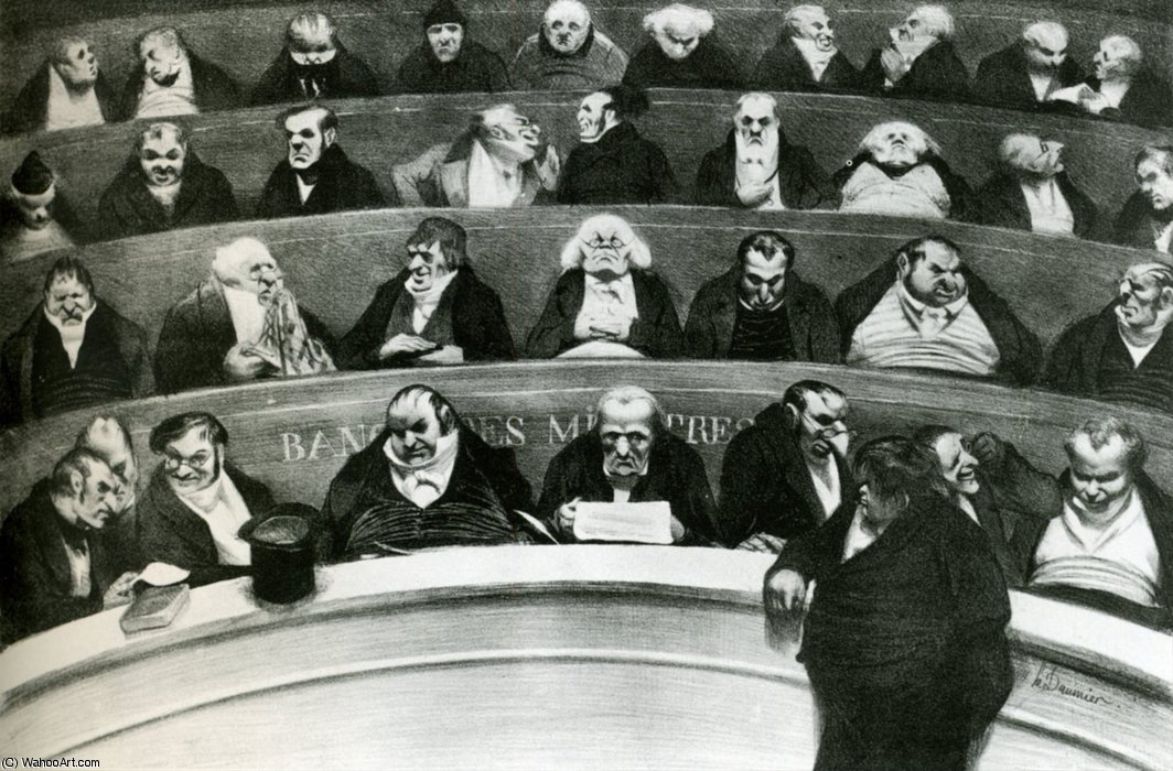 Le Ventre législatif, lithographie The legislative Belly, lithographs by Honoré Daumier (1808-1879, France)