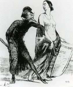 Honoré Daumier - Belle dame, voulez-vous accepter mon bras, lithographie Beautiful injury, want you to accept my arm, lithographs