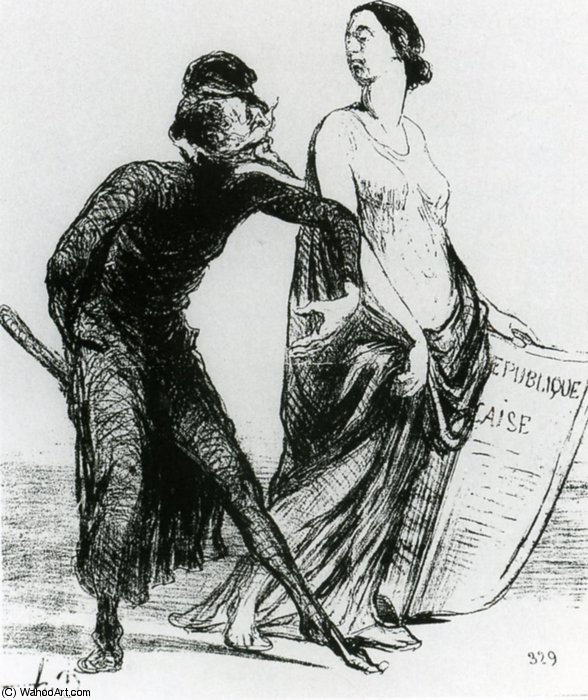 Belle dame, voulez-vous accepter mon bras, lithographie Beautiful injury, want you to accept my arm, lithographs by Honoré Daumier (1808-1879, France)