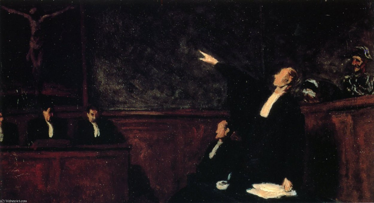 Au tribunal, huile sur toile With the court, oils on fabric by Honoré Daumier (1808-1879, France) | WahooArt.com