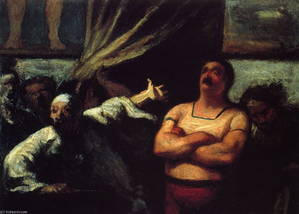 Bonimenteur devant une baraque de foire, huile sur panneau Smooth talker in front of a hut of fair, oils on panel by Honoré Daumier (1808-1879, France) | WahooArt.com