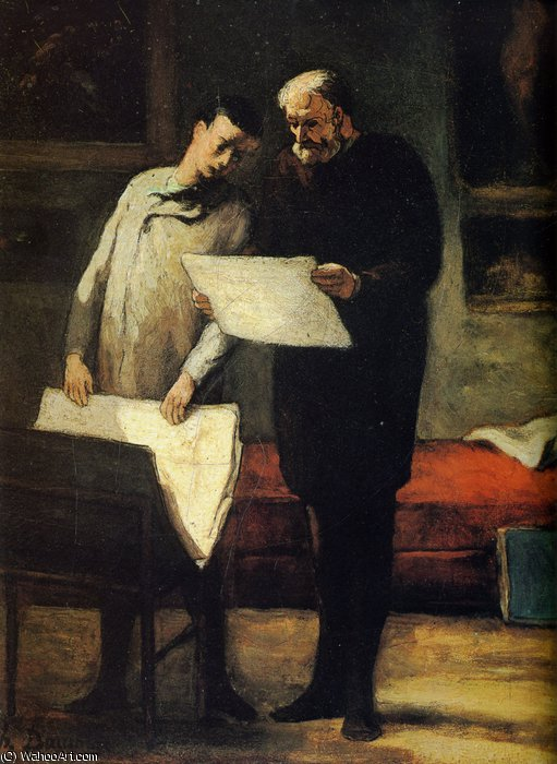 Conseils à un jeune artiste, huile sur toile The Councils with a young artist, oils on fabric by Honoré Daumier (1808-1879, France)