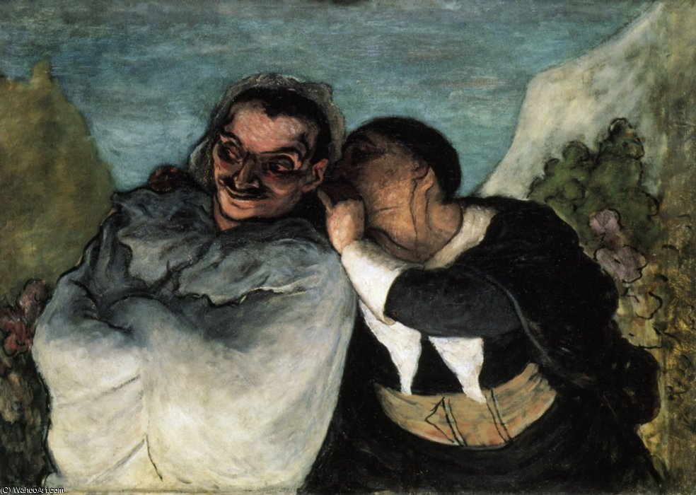 Crispin et Scapin ou Scapin et Sylvestre, huile sur toile Crispin and Scapin or Scapin and Sylvestre, oil on fabric by Honoré Daumier (1808-1879, France)
