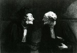 Honoré Daumier - Deux avocats la poignée de main, plume crayon aquarelle Two lawyers the handshake, plucks pencil watercolour