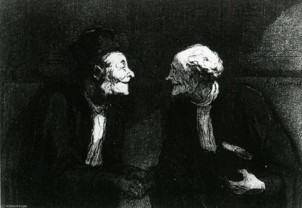 Deux avocats la poignée de main, plume crayon aquarelle Two lawyers the handshake, plucks pencil watercolour by Honoré Daumier (1808-1879, France)