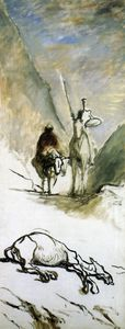 Honoré Daumier - Don quichotte et la mule morte, huile sur toile Gift quichotte and the mule died, oil on fabric