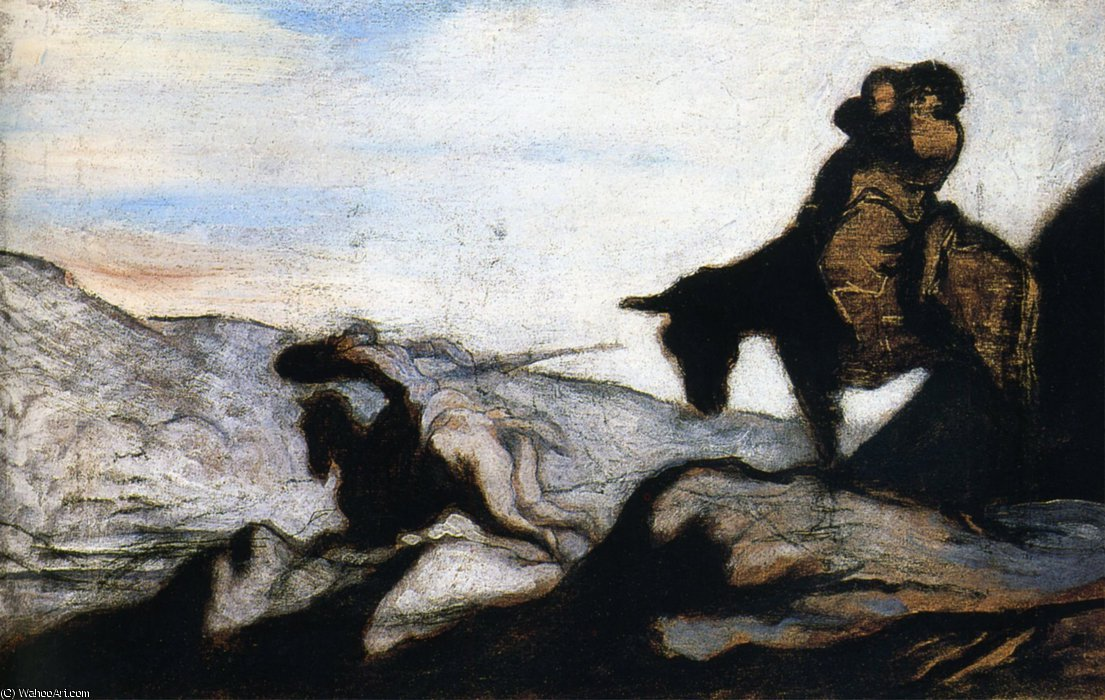 Don Quichotte et Sancho Pança dans les montagnes huile sur panneau Gift Quichotte and Sancho Pança in the mountains oils on panel by Honoré Daumier (1808-1879, France)