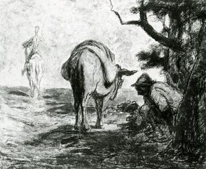 Honoré Daumier - Don Quichotte et Sancho Pança, Huile sur panneau Gift Quichotte and Sancho Pança, Oil on panel