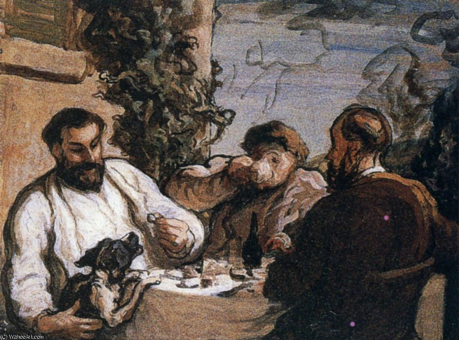 Déjeuner dans la campagne, Huile sur toile To lunch in the countryside, Oils on fabric by Honoré Daumier (1808-1879, France)