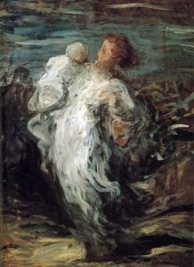 Honoré Daumier - Femme portant un enfant, huile sur toile Woman carrying a child, oils on fabric